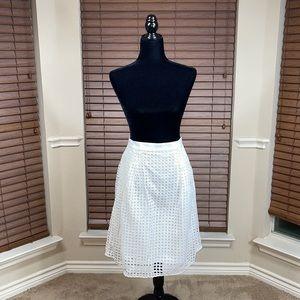 Ann Taylor LOFT A-Line White Skirt